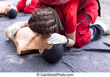 First aid training concept. CPR.