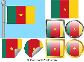 Flag Set Cameroon