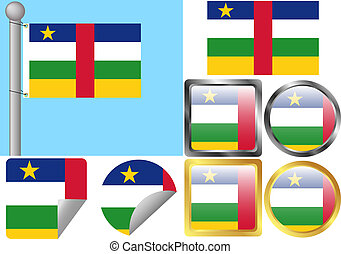 Flag Set Central African Republic