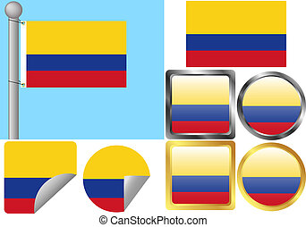 Flag Set Colombia