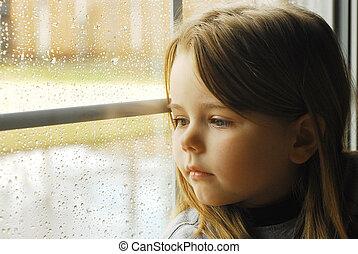 The child at a window A rain