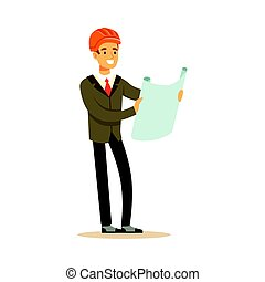Smiling architect in orange helmet holding projects blueprint colorful character vector Illustration