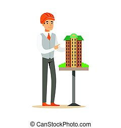 Young architect man in orange safety helmet presenting model of building, colorful character vector Illustration