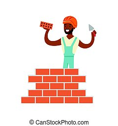 Smiling worker building a brick wall, colorful character...