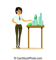 Young architect woman presenting model of city buildings, colorful character vector Illustration
