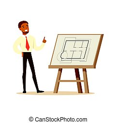 Young smiling architect showing his project blueprint on an easel, colorful character vector Illustration