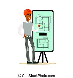 Young architect showing his project blueprints and floor plans on a presentation board, colorful character vector Illustration
