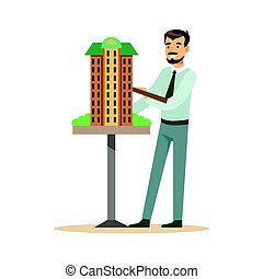 Young architect man presenting model of building, colorful character vector Illustration