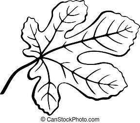 Fig Leaf Black Pictogram - Fig Tree Leaf Black Pictogram,...