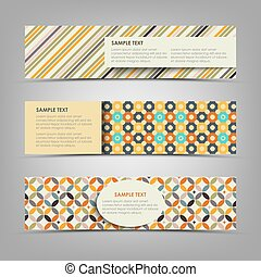 Collection retro banners with different color patterns...