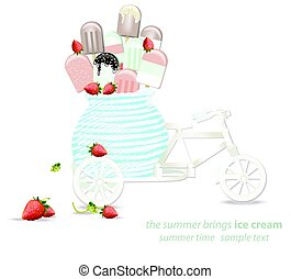 Ice cream in a decoration bycicle toy. Vector illustration -...