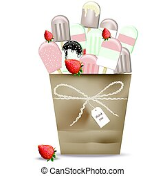 Ice cream cones in a basket chocolate and strawberry fruits...