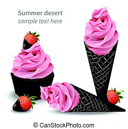 Ice cream cones strawberry flavours. Vector illustration -...