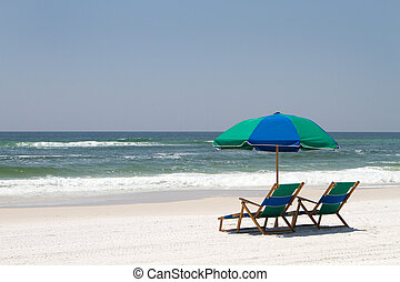 Fort Walton Beach Chairs - Two beach chairs and an umbrella...