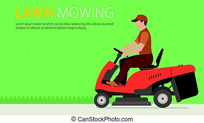 Man on tractor lawnmower - Man mowing the lawn with red...