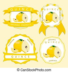 The yellow quince - Vector illustration logo for whole ripe...