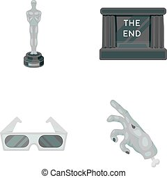 Award Oscar, movie screen, 3D glasses. Films and film set collection icons in monochrome style vector symbol stock illustration web.