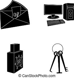Virus, monitor, display, screen .Hackers and hacking set collection icons in black style vector symbol stock illustration web.
