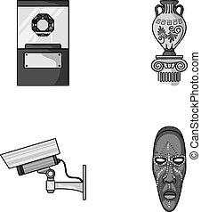 A diamond, a vase on a stand, a surveillance camera, an African mask. Museum set collection icons in monochrome style vector symbol stock illustration web.