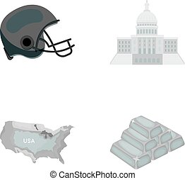 Football player's helmet, capitol, territory map, gold and foreign exchange. USA Acountry set collection icons in monochrome style vector symbol stock illustration web.