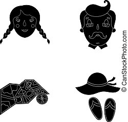Travel, vacation, camping, map .Family holiday set collection icons in black style vector symbol stock illustration web.
