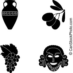 Greece, olive, branch, vase .Greece set collection icons in black style vector symbol stock illustration web.