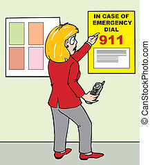 911 poster - woman looking at an emergency contact poster...