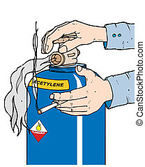 acetylene safety - a person with a lit cigarette opening an...