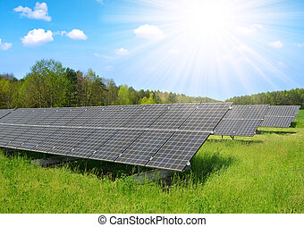 Solar power station on the meadow. - Solar power station on...
