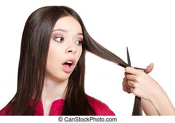 Long haired brunette. - Portrait of a long haired brunette...
