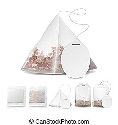 vectors illustration of tea bags illustration with labels in round