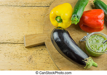 Fresh vegetable on a cutting board of wood