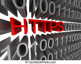 HTTPS in the form of binary code isolated on white...