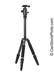 Carbon photographic tripod isolated on white background