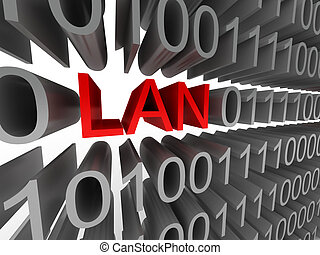 LAN in the form of binary code isolated on white background....
