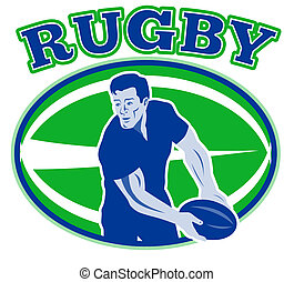 ugby player passing ball front