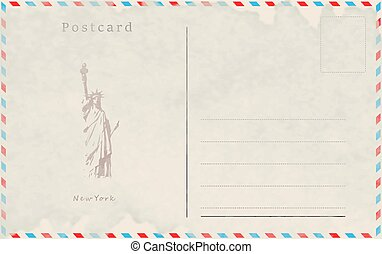 Vintage postcard. Vector design. Capitals of the world. New York