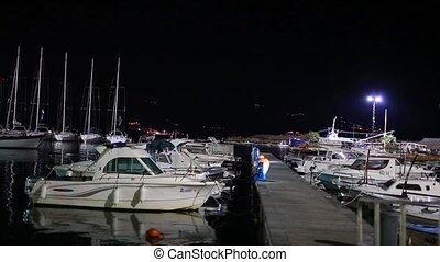 Boat dock at night in Budva - Boat dock at night, Budva...