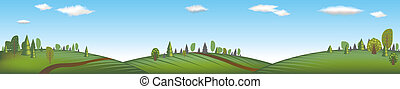 Banner With Landscape, Vector Illustration
