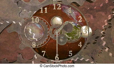 World time gears grunge version looping animated abstract CG...
