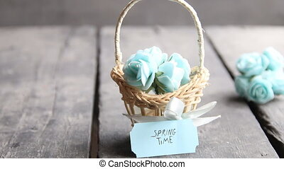 Spring time tag - Beautiful bouquet of blue flowers in...