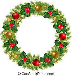 Christmas Wreath With New Year's Spheres, Stars, Streamer...