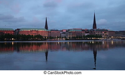 Alster Lake, Hamburg, Germany - Evening view of the Alster...