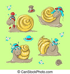 Cute funny cartoon snails in different hats.