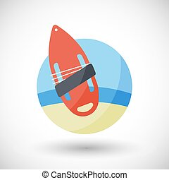 Torpedo buoy vector flat icon - Torpedo buoy lifeguard icon,...