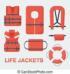 Life jacket vector flat set - Life jackets set, Flat design...