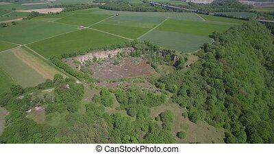 Aerial, Old Quarry, Surrounded By Farmland and Forest,...