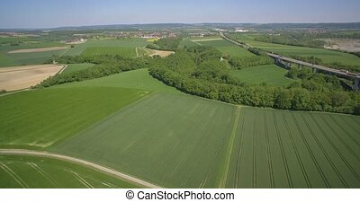 Aerial, Flight Over Farmland And Old Quarry, Germany