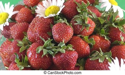 Strawberry and flower daisies - Juicy Strawberry and flower...