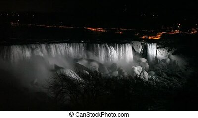 Niagara Falls at Night with Illuminated Colors